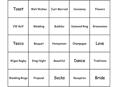 wedding speech bingo card